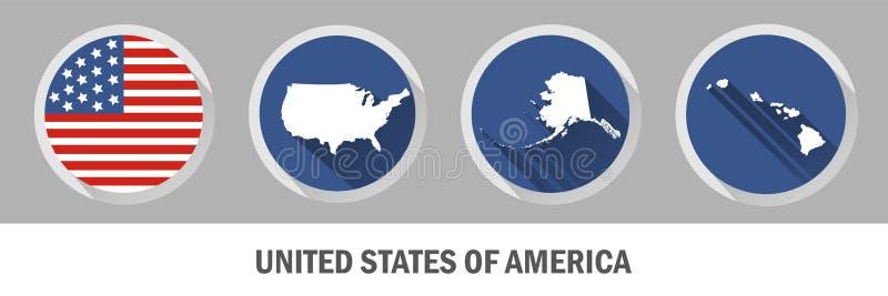 Stany Zjednoczone Ameryka symbol Set USA stanów mapy ilustracji