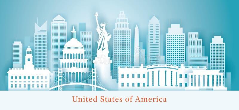 Stany Zjednoczone Ameryka, usa, punktu zwrotnego linia horyzontu tło, Papierowy rozcięcie styl royalty ilustracja