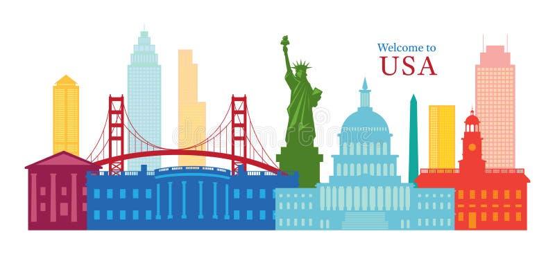 Stany Zjednoczone Ameryka, usa, punkty zwrotni, linia horyzontu i drapacz chmur, ilustracji