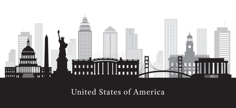 Stany Zjednoczone Ameryka, usa, punkty zwrotni, w Czarny I Biały ilustracji