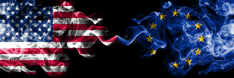 Stany Zjednoczone Ameryka vs unia europejska, UE dymiące tajemnicze flagi umieszczająca strona strona - obok - G?ste barwione s ilustracji