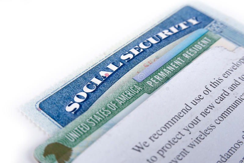Stany Zjednoczone Ameryka zielona karta i ubezpieczenie społeczne zdjęcia royalty free