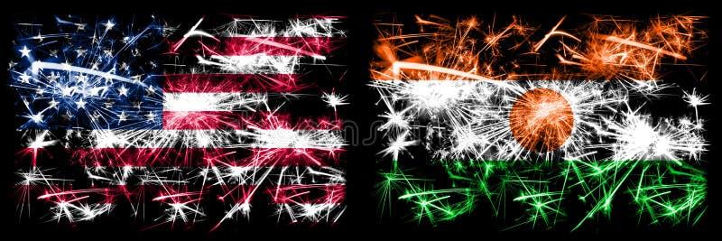 Stany Zjednoczone Ameryki, USA vs Niger, Nigeryjski Nowy Rok Połączenie royalty ilustracja