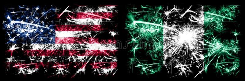 Stany Zjednoczone Ameryki, USA vs Nigeria, Nigeryjski Nowy Rok Kombinacja royalty ilustracja