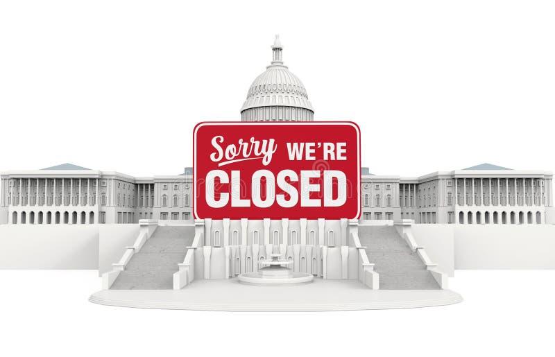 Stany Zjednoczone Capitol budynek z Zamkniętym znakiem Rządowa zamknięcie ilustracja ilustracji