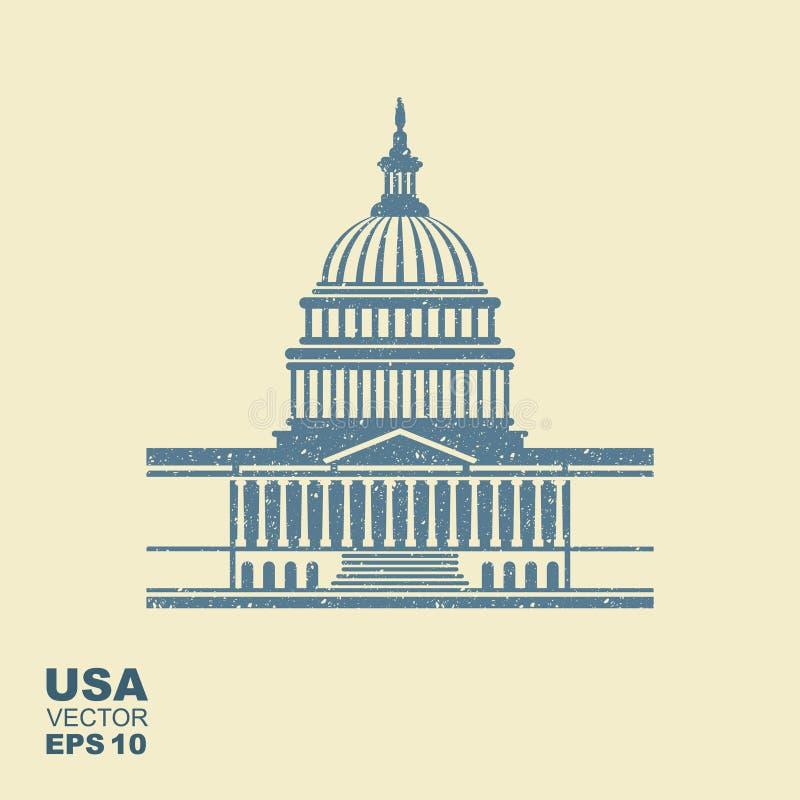 Stany Zjednoczone Capitol budynku ikona w washington dc royalty ilustracja