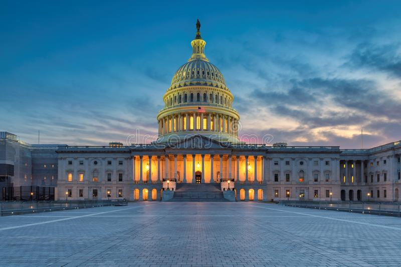Stany Zjednoczone Capitol budynku zmierzch obraz stock