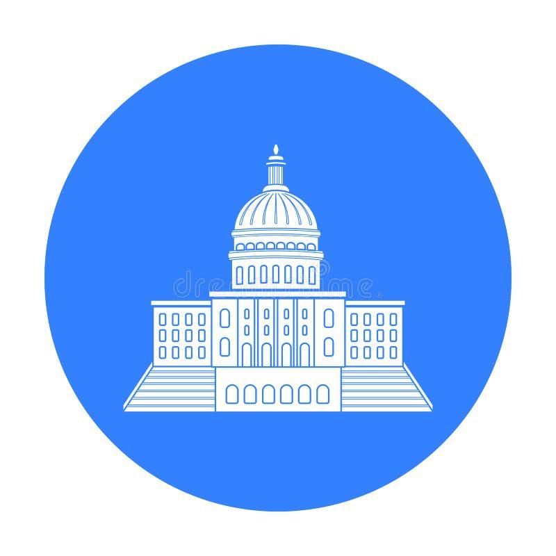 Stany Zjednoczone Capitol ikona w czerń stylu odizolowywającym na białym tle USA kraju symbolu zapasu wektoru ilustracja ilustracja wektor