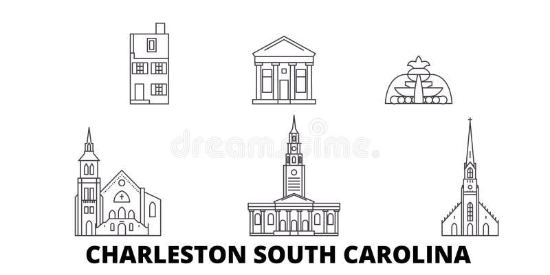 Stany Zjednoczone, Charleston Południowa Karolina linii podróży linia horyzontu set Stany Zjednoczone, Charleston Południowa Karo ilustracja wektor