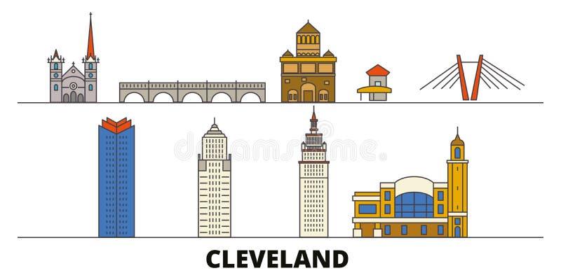Stany Zjednoczone, Cleveland punktów zwrotnych wektoru płaska ilustracja Stany Zjednoczone, Cleveland kreskowy miasto z sławną po ilustracja wektor