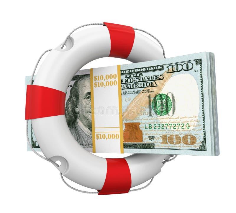 Stany Zjednoczone dolary i Lifebuoy Odizolowywali royalty ilustracja