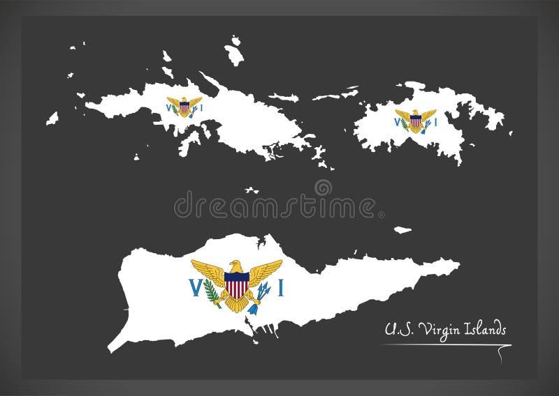 Stany Zjednoczone Dziewiczych wysp mapa z oficjalną flaga państowowa bolączką ilustracji