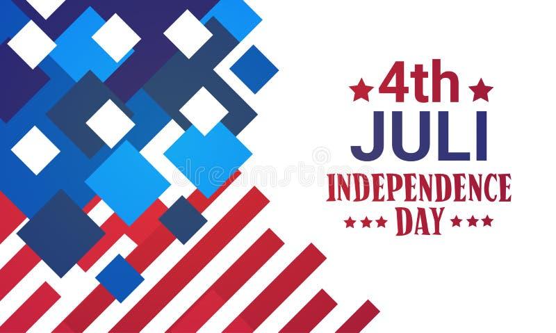 Stany Zjednoczone flaga dnia niepodległości wakacje 4 Lipa sztandar ilustracja wektor