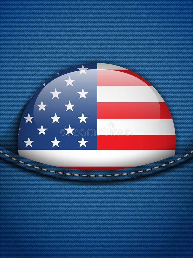Stany Zjednoczone flaga guzik w cajg kieszeni ilustracja wektor