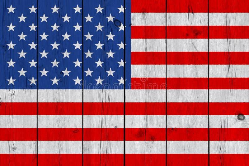Stany Zjednoczone flaga malująca na starej drewnianej desce zdjęcie stock