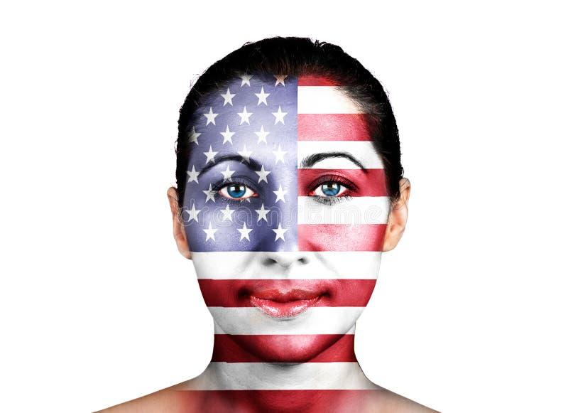 Stany Zjednoczone flaga na twarzy fotografia royalty free