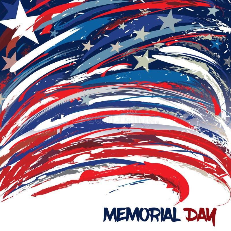 Stany Zjednoczone flaga projektująca z muśnięć uderzeniami dla dnia pamięci ilustracja wektor