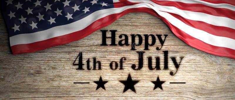 Stany Zjednoczone flaga z szczęśliwy 4th Lipiec wiadomość umieszczająca na drewnianym tle ilustracja 3 d royalty ilustracja