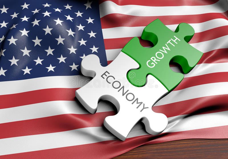 Stany Zjednoczone gospodarki i rynku finansowego przyrosta pojęcie ilustracji