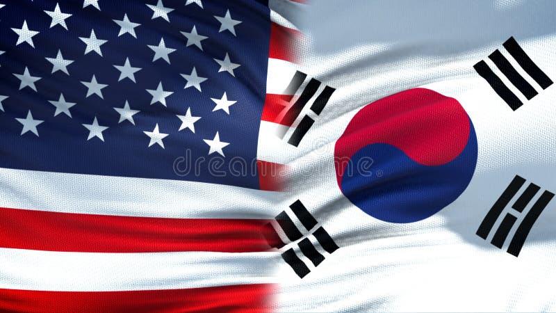 Stany Zjednoczone i korei południowej flag tło dyplomatyczny i relacje gospodarcze zdjęcia royalty free