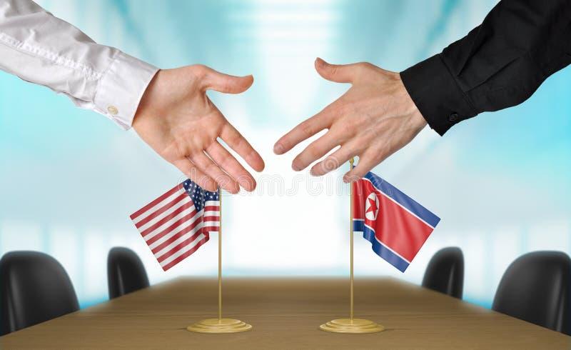 Stany Zjednoczone i Północnego Korea dyplomaci trząść ręki zgadzać się transakcję, części 3D rendering fotografia royalty free