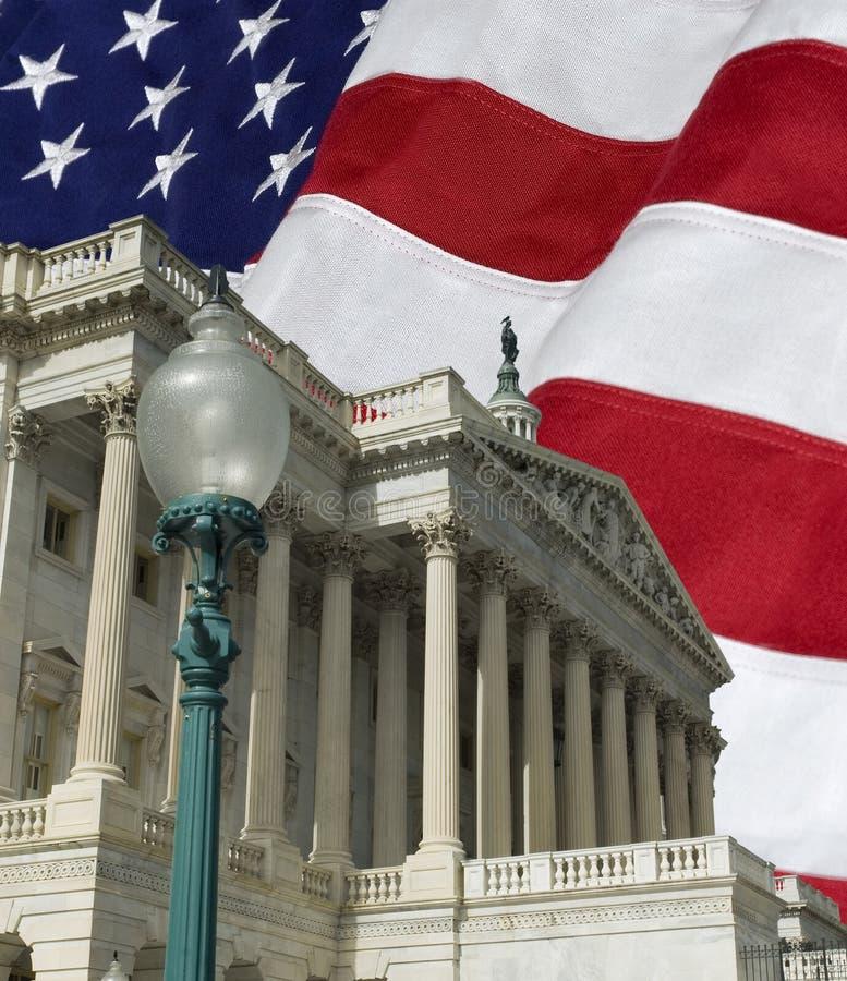 Stany Zjednoczone kapitał z flaga zdjęcie stock