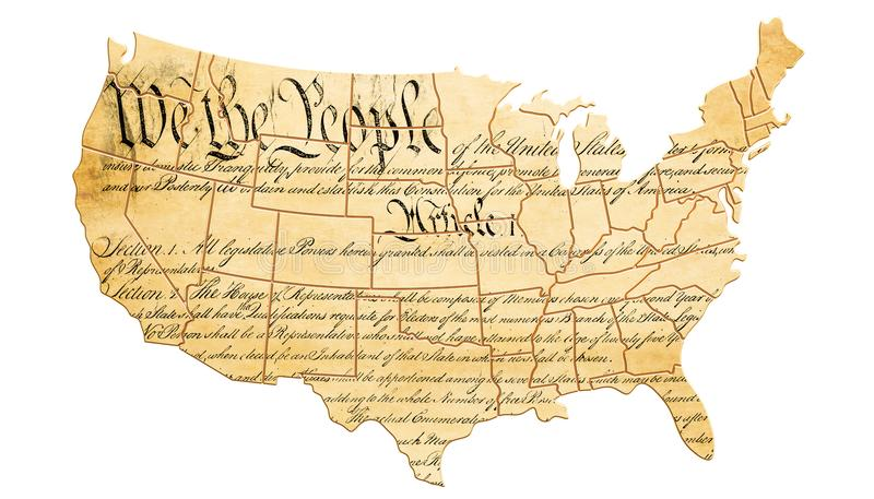 Stany Zjednoczone konstytuci pojęcie z mapą i tekstem 3d ponowny ilustracji