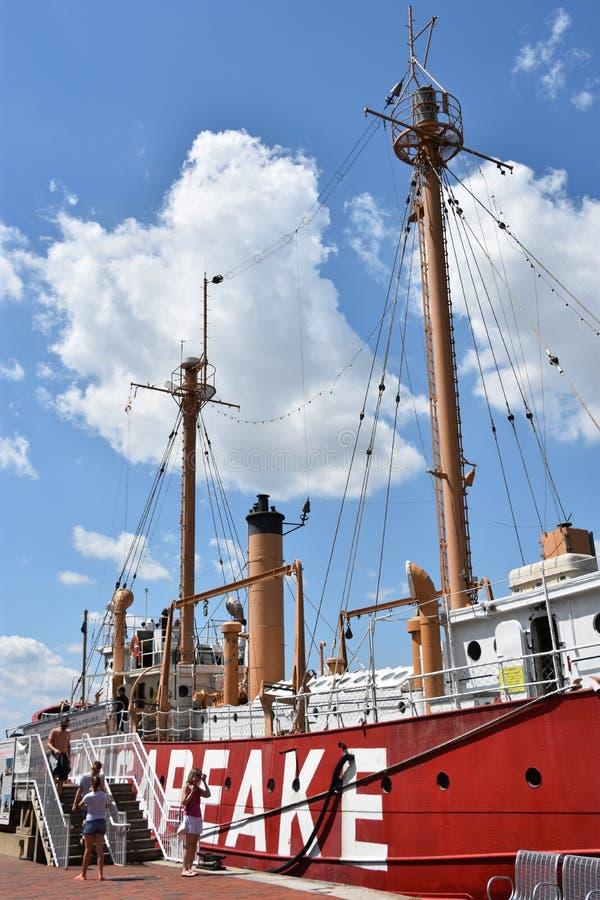 Stany Zjednoczone latarniowa Chesapeake LV-116 w Baltimore, Maryland zdjęcie stock