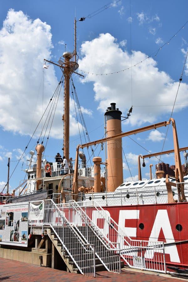 Stany Zjednoczone latarniowa Chesapeake LV-116 w Baltimore, Maryland zdjęcia stock