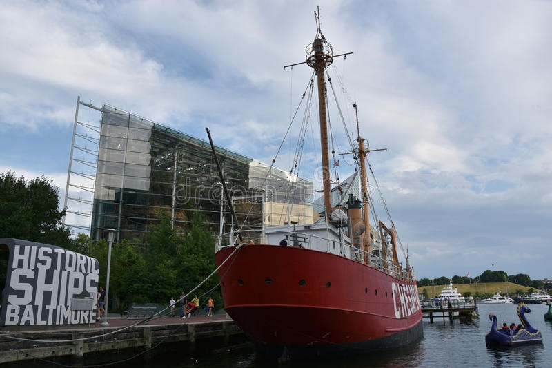 Stany Zjednoczone latarniowa Chesapeake LV-116 w Baltimore, Maryland obraz royalty free
