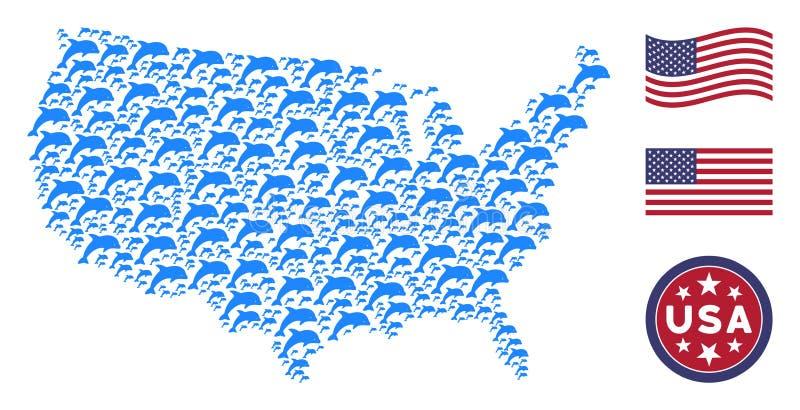 Stany Zjednoczone mapy Stylizowany skład delfin ilustracji