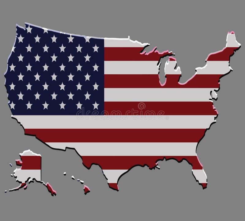 Stany Zjednoczone mapy wektor z flaga amerykańską royalty ilustracja
