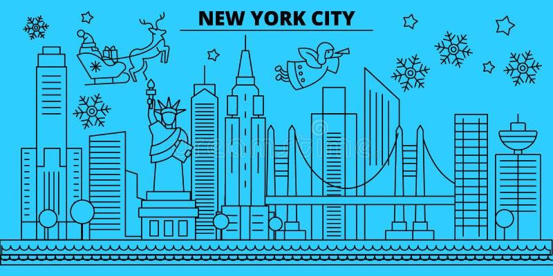 Stany Zjednoczone, Miasto Nowy Jork zimy wakacji linia horyzontu Wesoło boże narodzenia, Szczęśliwy nowy rok dekorowali sztandar  ilustracja wektor