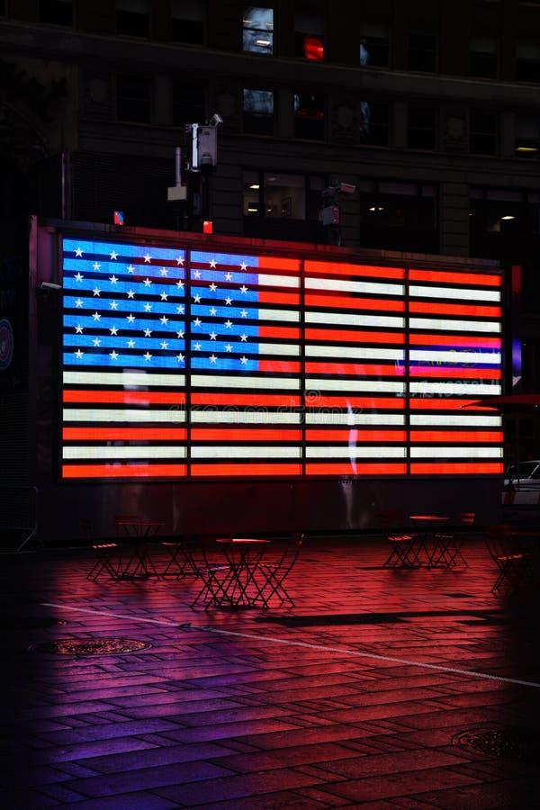 Stany Zjednoczone neonowa flaga w times square Nowy Jork zdjęcie stock