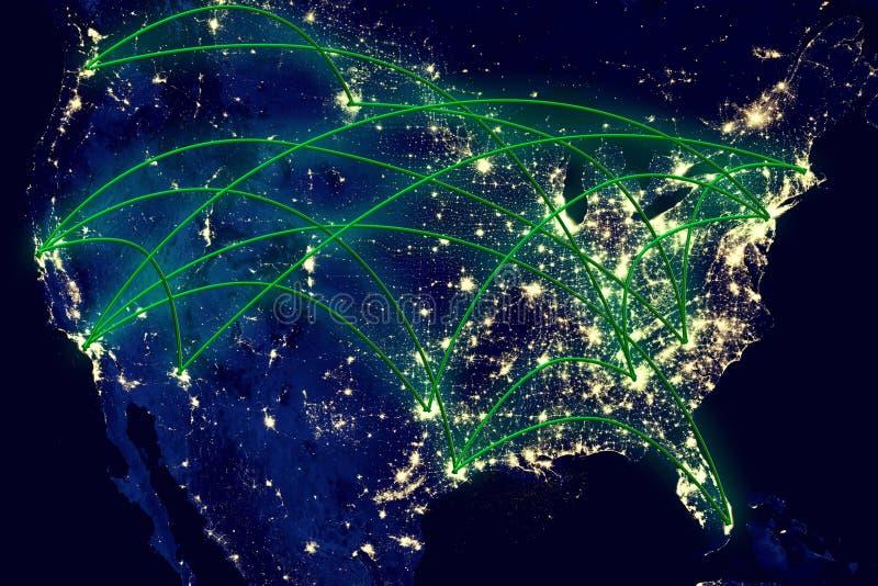 Stany Zjednoczone nocy mapa obraz royalty free