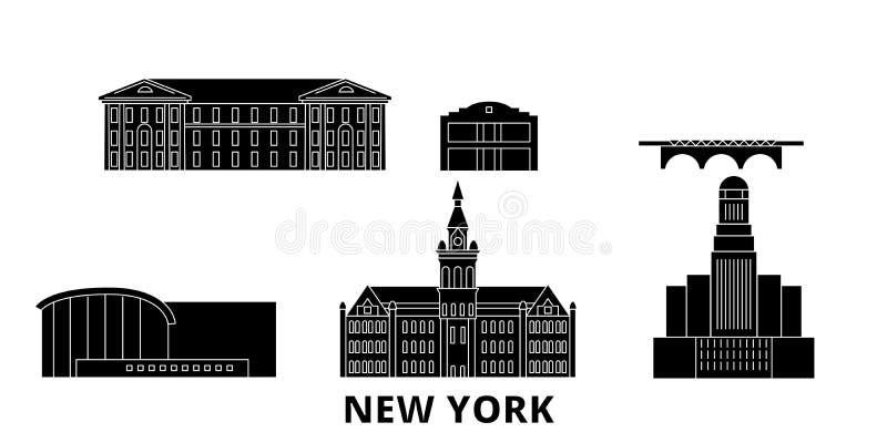 Stany Zjednoczone, Nowy Jork podróży linia horyzontu Bawoli płaski set Stany Zjednoczone, Nowy Jork miasta wektoru Bawolia czarna royalty ilustracja