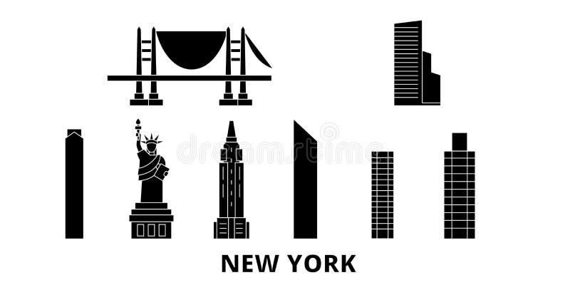Stany Zjednoczone, Nowy Jork podróży linia horyzontu płaski set Stany Zjednoczone, Nowy Jork czarnego miasta wektorowa ilustracja royalty ilustracja