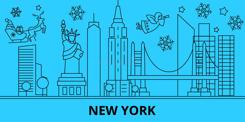 Stany Zjednoczone, Nowy Jork zimy wakacji linia horyzontu Wesoło boże narodzenia, Szczęśliwy nowy rok dekorowali sztandar z Święt ilustracja wektor