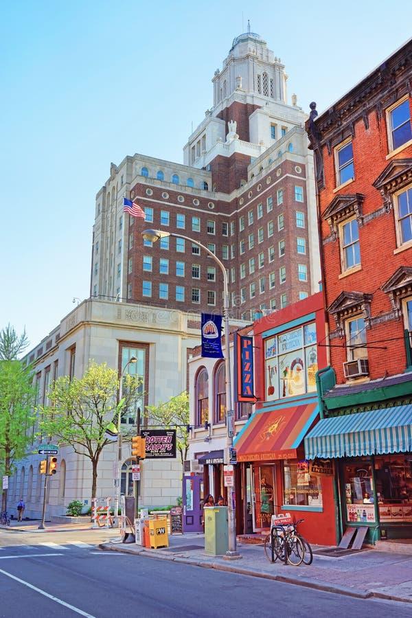 Stany Zjednoczone Obyczajowy dom przeglądać od 2nd ulicy Philadelphi obrazy royalty free