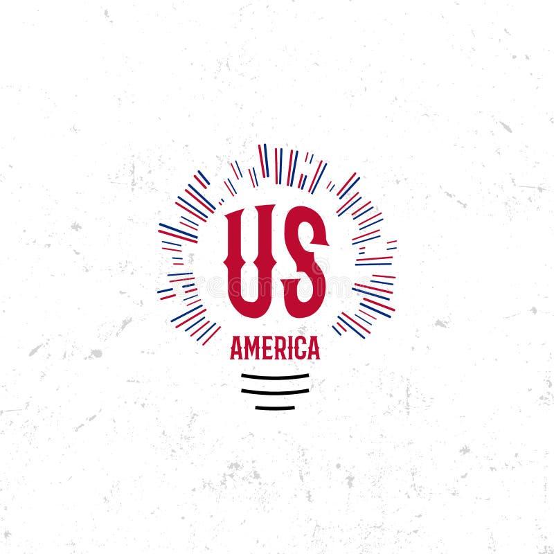 Stany Zjednoczone Północna Ameryka loga Wektorowego rocznika prosty styl Dnia Niepodległości święta narodowego ikona niebieska cz ilustracja wektor