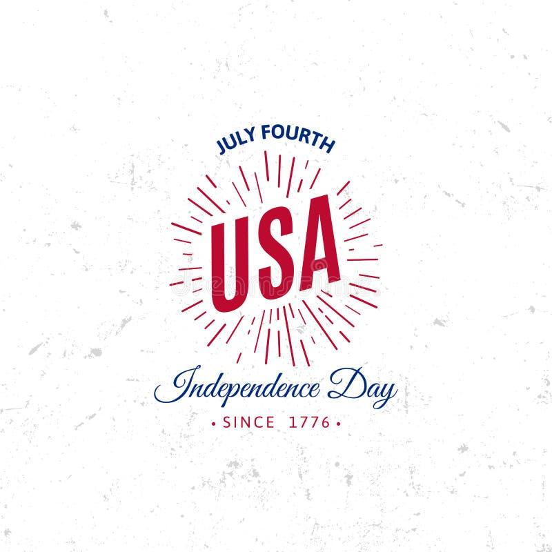 Stany Zjednoczone Północna Ameryka loga Wektorowego rocznika prosty styl Dnia Niepodległości święta narodowego ikona niebieska cz ilustracji