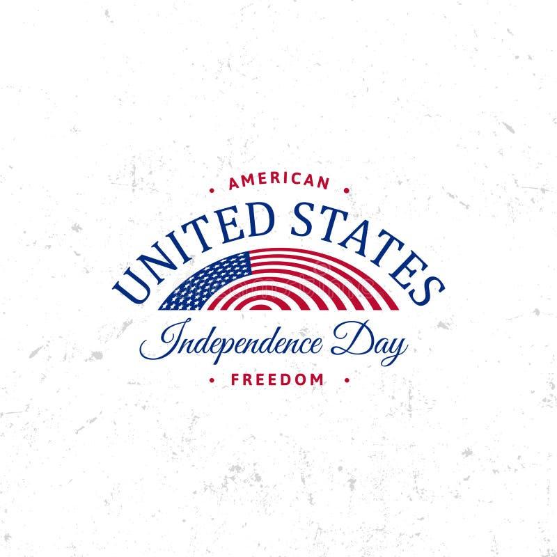 Stany Zjednoczone Północna Ameryka loga Wektorowego rocznika prosty styl Dnia Niepodległości święta narodowego ikona niebieska cz royalty ilustracja