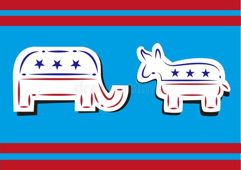 Stany Zjednoczone polityka Demokratyczny osła i republikanina Kreskowej sztuki słoń Łamający styl ilustracja wektor
