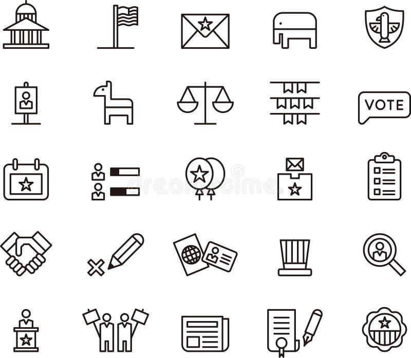 Stany Zjednoczone polityka i wybory ikony royalty ilustracja