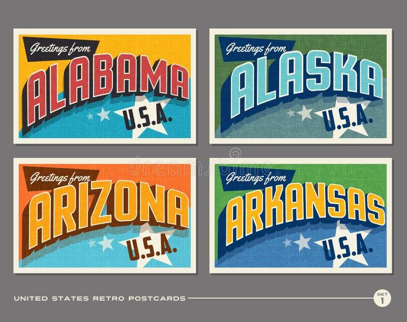 Stany Zjednoczone rocznika typografii pocztówki ilustracji