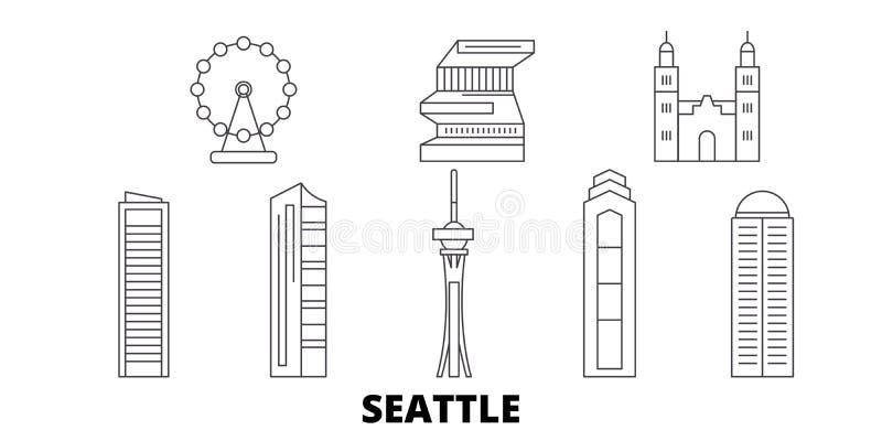 Stany Zjednoczone, Seattle linii podróży linia horyzontu set Stany Zjednoczone, Seattle konturu miasta wektorowa ilustracja, symb royalty ilustracja