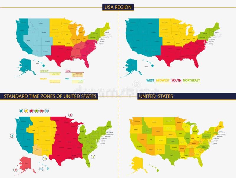 stany zjednoczone Standardowe strefy czasowe zlani stany USA region ilustracja wektor