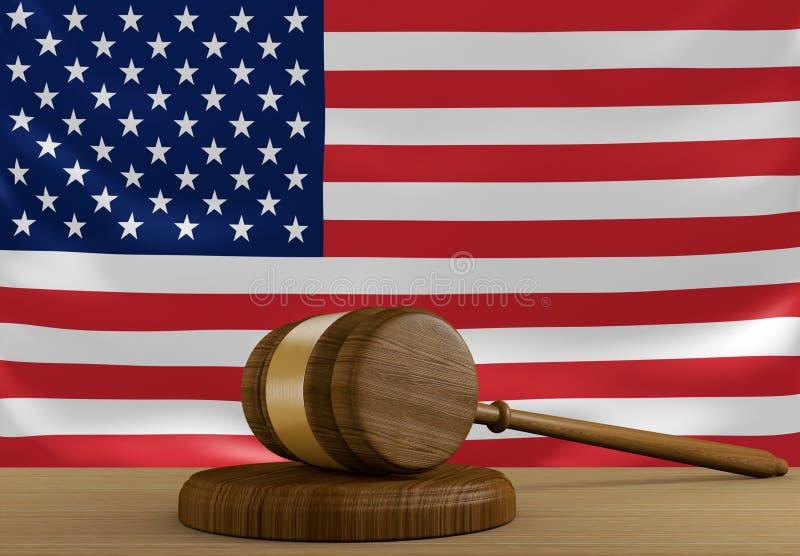 Stany Zjednoczone system sprawiedliwości z flaga państowowa i prawo ilustracji