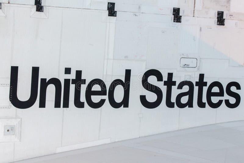 Stany Zjednoczone writing na astronautycznym wahadłowu obrazy stock