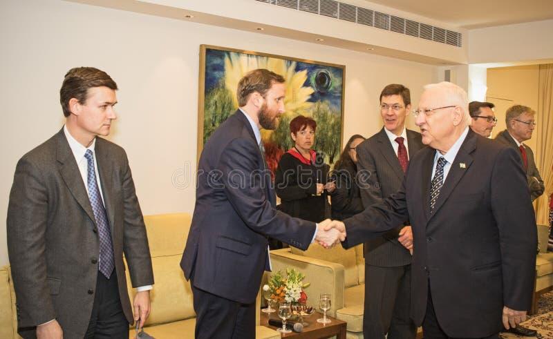 Stany Zjednoczone Zjazdowa delegacja Spotyka Izrael prezydenta zdjęcie stock